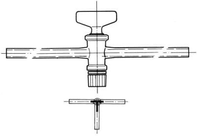 Cock three-way, marking 6, drilling 6,0 mm, shape T
