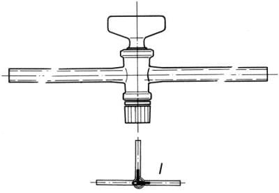 Cock three-way, marking 2, drilling 2,5 mm, shape L