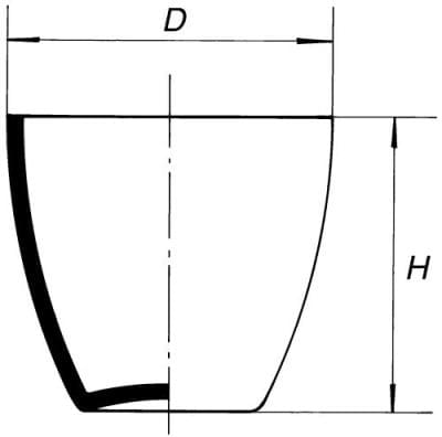 Combustion crucible, middle form
