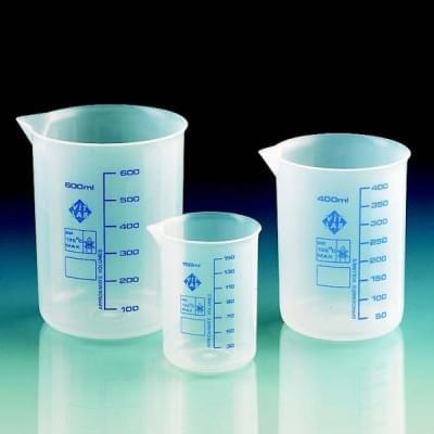 Beaker 50 ml, PP, transparent, blue scale