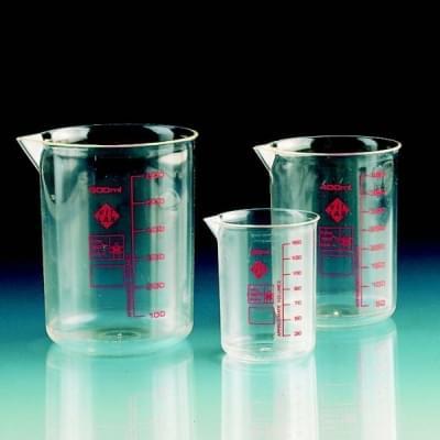 Beaker 400 ml, PMP, transparent, red scales