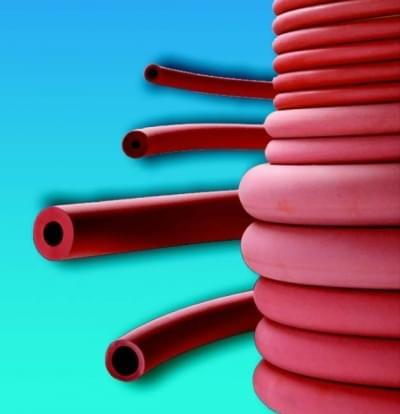 Rubber hose, red, diameter 7 mm - 4 x 7
