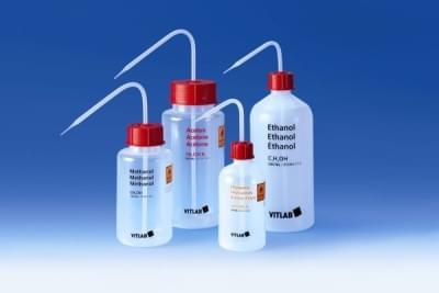 Střička na organická rozpouštědla, LDPE, VITsafe, s potiskem, Ethylacetát, 250 ml