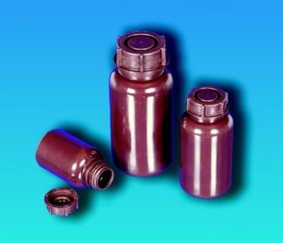Láhev širokohrdlá,  LDPE, kulatá, hnědá, bez uzávěru, 100 ml - 100 ml