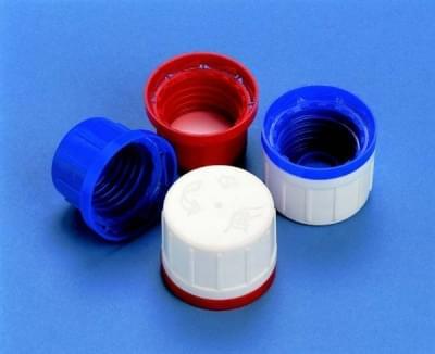 Uzávěr šroubovací PP, červený, s s PE pěnou uvnitř a pojistným kroužkem,  pro 100 - 1 000 ml