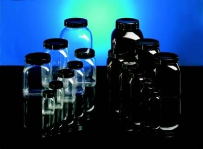 Láhev širokohrdlá PVC, čtyřhranná, čirá, bez uzávěru, 300 ml - 300 ml