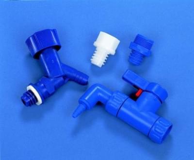 Kohout pro láhev skladovací HDP, adaptér pro PP uzávěr, modrý