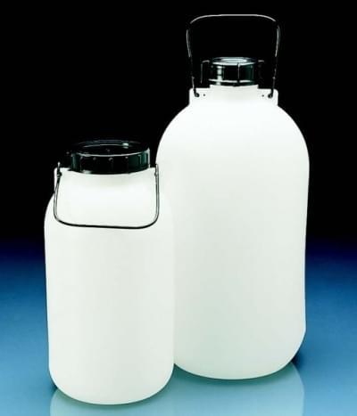 Láhev skladovací, HDPE, s těsněním, uzávěrem a držadlem, úzkohrdlá, 5 l - 5 l