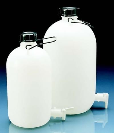 Láhev skladovací s výpustným kohoutem, HDPE, s držadlem, 10 l - 10 l