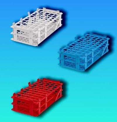 Stojan na zkumavky, PP, červený, stohovatelný, 5 × 11 míst, pro průměr 16 mm - 5x11 míst