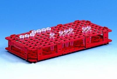 Stojan na mikrozkumavky, PP, červený, 8 × 16 míst, pro průměr 13 mm - 8x16 míst