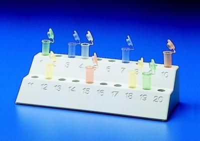 Stojan na mikrozkumavky, PP, dvouúrovňový, 2 × 10 míst, pro průměr 10 - 12 mm