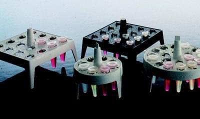 Stojan na mikrozkumavky, PP, plovoucí, čtvercový, bílý, pro průměr 0,5 - 2 mm
