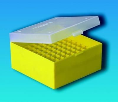 Kryobox s mřížkou, PP, pro 3 - 5 ml zkumavky, žlutá