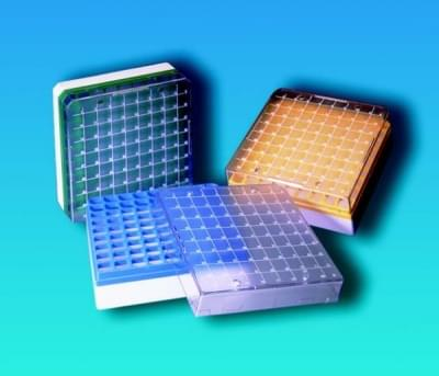 Kryobox s mřížkou, PC, pro 1,2 - 2 ml zkumavky, modrá