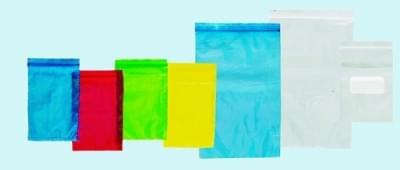 Sáček na vzorky se zipovým uzávěrem a kapsou, PE, modrý, 200 × 300 mm - 200 x 300