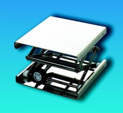 Zvedáček laboratorní nerezový – nastavitelný stojan, plošina 200 × 200 mm - 200x200