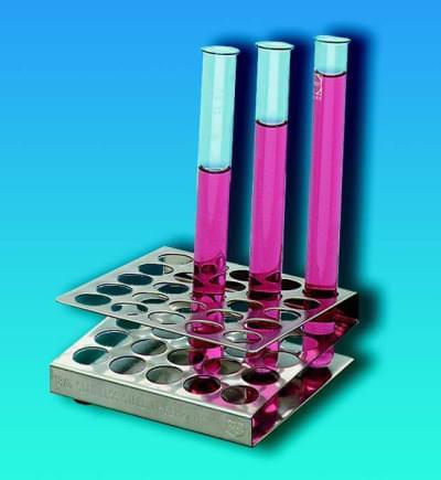Stojan na zkumavky, čtercový, nerezový, pro zkumavky o průměru do 13 mm, 5 × 5 míst - 50x85x85