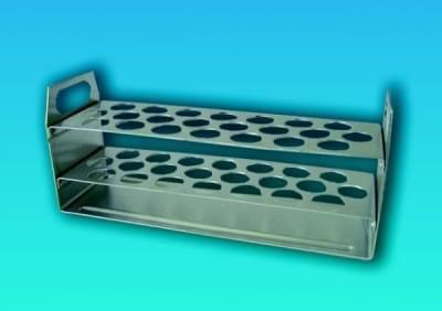 Stojan na 22 zkumavek o průměru do 17 mm, hliníkový - 383x57x95