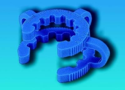 Klema - svorka na fixaci kónických NZ zábrusů, pro zábrus 19/26 mm, modrá barva