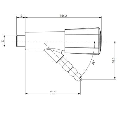 Laboratorní plynový kohout s přímou hlavicí a vyústěním 45° - TOF 2000/2
