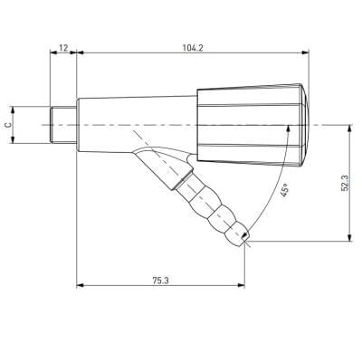 TOF 2000/2 - Gas Tap,  nozzle 45°