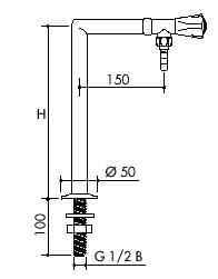 TOF 1000/355 - Laboratory pillar tap for water, discharge down