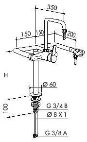 TOF 1000/430 - Standout 1 mixer goosenek and 1 tap