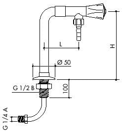 TOF 1000/630 - Dewatering laboratory valve with inlet hose, outlet down