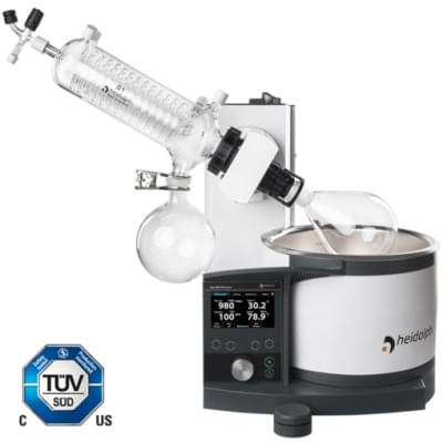 Rotary Evaporator Hei-VAP Precision - hand lift model with coated G1 diagonal glassware