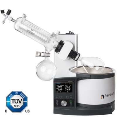 Rotary Evaporator Hei-VAP Precision - motor lift model with coated G1 diagonal glassware