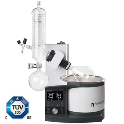Rotary Evaporator Hei-VAP Precision - motor lift model with coated G3 vertical glassware